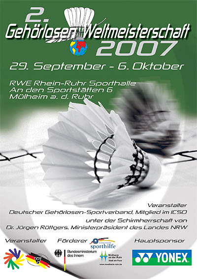 Photo: 2007 World Deaf Badminton Championships Poster