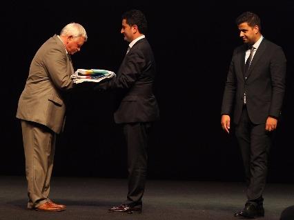 Rukhledev, Kihtir and Baltacı at closing ceremony